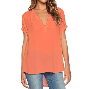 Tops - Orange V Neck Short Sleeve Oversize Chiffon Tee
